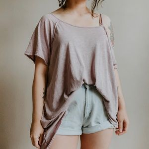 FREE PEOPLE • oversized off shoulder slouch tee